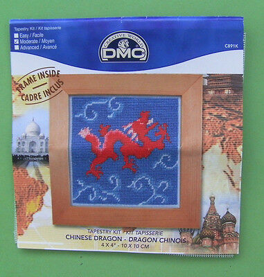 DMC 'Chinese Dragon' Miniature Tapestry Canvas Kit (incomplete)