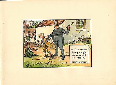 1905 laws of cricket  original colour print -  the striker being caught