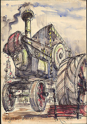 """1965 pen & ink with watercolour titled  """" majestic """" steam engine"""