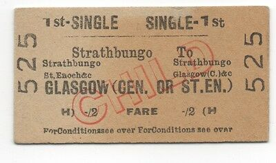 BR (H) Single Ticket Strathbungo to Glasgow Central or St. Enoch dated 1960