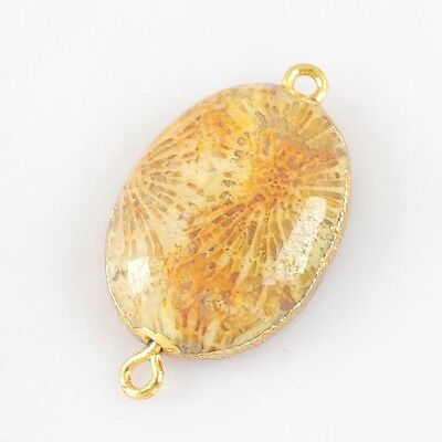 Oval Natural Coral Fossil Connector Gold Plated H83025