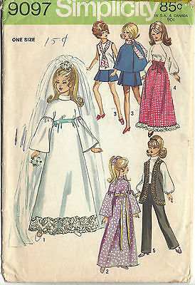 """11½"""" FASHION DOLL Clothes Simplicity 9097 Sewing Pattern fits BARBIE ©1970"""