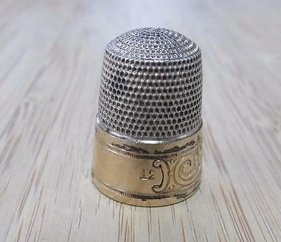 Sterling Silver with Gold Inlay Vintage #12 Thimble ~ 6.7grams ~ 5-H6150