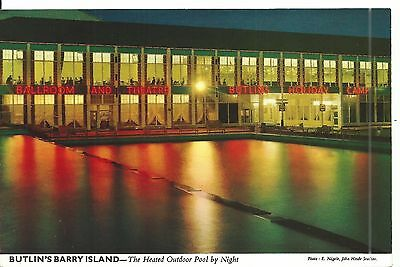 Butlins Barry Island The Heated Outdoor Pool By Night John Hinde Ltd 3By16 Pc