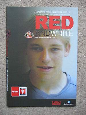SUNDERLAND v MACCLESFIELD TOWN FA YOUTH CUP 4TH ROUND 2008 PROGRAMME