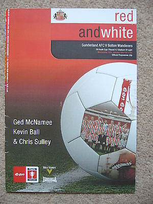 SUNDERLAND v BOLTON WANDERERS FA YOUTH CUP 4TH ROUND 2007 PROGRAMME