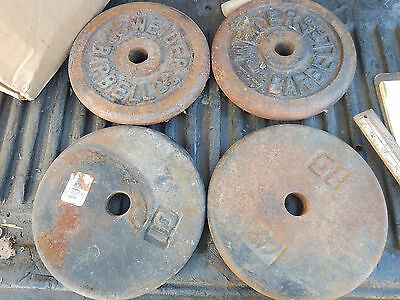 """Weider And Cap 10 Pound Weight Plates For 1"""" Dubbell Barbell Bars"""