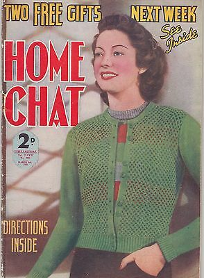 Wonderful Vintage 1930s HOME CHAT Magazine Mar 1939 Knitting, Stories, Recipes