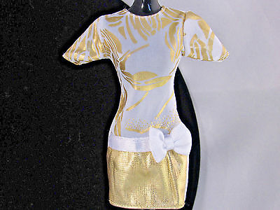 Barbie Doll Clothes Party Dress Drop Waist Bow Shift Gold White Purple B Tag