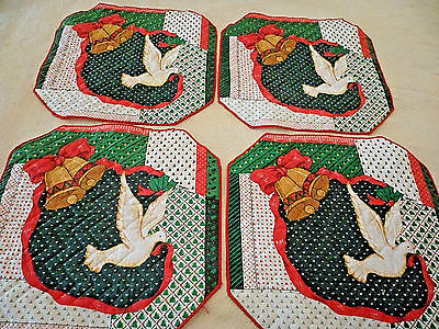 """Set 4 Vtg Rayford Christmas Patchwork Place Mats Dove Bells Red Green White 14"""""""