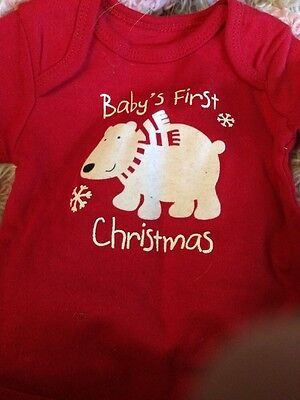 New Newborn Baby's First Christmas 3/4 Stripped Sleeve Infant Onesie