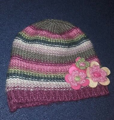 Monsoon Hat Accessorize stripe multi colour wooly flower boho New child 1-3 year