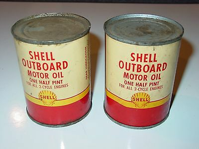 2 Vintage Shell Outboard Motor Oil 1/2 pint full metal can NOS