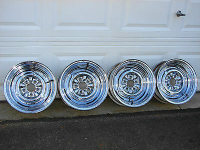 VINTAGE 15 X 6 CHROME REVERSE WHEELS 4 1/2 bc FORD MOPAR GASSER STREET ROD
