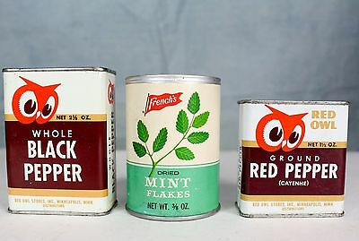 Red Owl & French's Spice Tins 3 Vintage Tin Can Lot Kitchen Cook