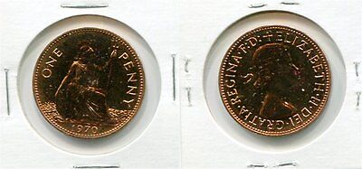 1970 Great Britain One Penny Coin Proof QEII
