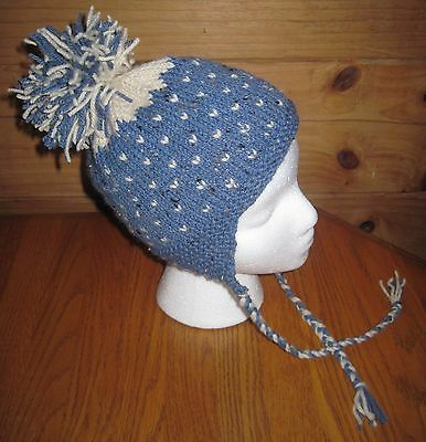 Hand Knit Hat with Earflaps and Pom Pom Toddler Size