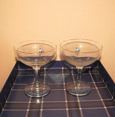 Two super vintage Retro 1960's Babycham stylish glasses with logo and Deer.