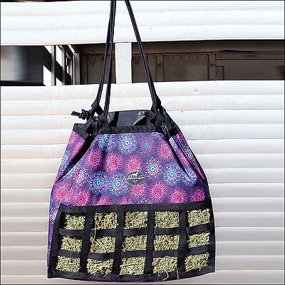 Professional Choice Scratch Free Horse Feeding Hay Bag Strong Handle Flower Neon