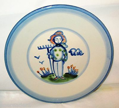"""M.A. HADLEY COUNTRY FARMER 9"""" LUNCHEON PLATE Stoneware Handpainted Art Pottery"""