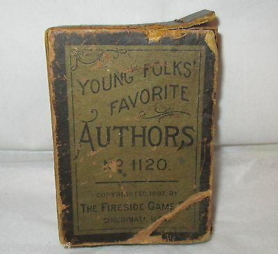 Antique 1897 YOUNG FOLKS FAVORITE AUTHORS #1120 Playing Cards Game Complete Box