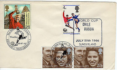 WORLD CUP 1966  Match cover CHILE v RUSSIA + WEMBLEY 50th ann 2016 Postmark