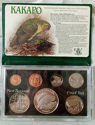 1986 PROOF SET NEW ZEALAND Cents & Dollars Kakapo GGC Coin Collection