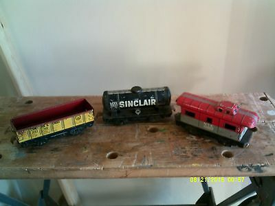 Marx Trains 3,  6 Inch Tin Freight cars, Gondola, Tank car and caboose
