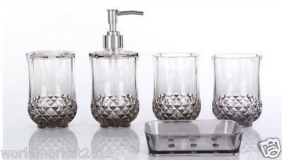 A36 New Acrylic Grey 5-in-1 2Tooth Mugs/Soap Dish/Sanitizers Bottle/Toothbruss