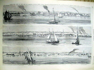 1860 illustrated newspaper with AERIAL VIEW POSTER engraving TORONTO CANADA