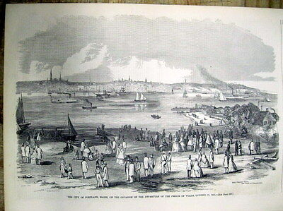 1860 illustrated newspaper with AERIAL VIEW POSTER engraving of PORTLAND Maine