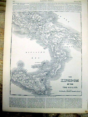 1860 illustrated newspaper w detailed POSTER MAP ITALY & SICILY Rome GARIBALDI