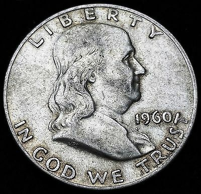 1960-D Franklin 90% Silver Half Dollar, 50 Cents, Nice Grade - Free Combined S/H
