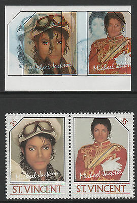 St Vincent (2248) - 1985 Michael Jackson pair Colours SHIFTED & OMITTED u/m