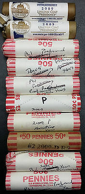 Lot of 10 U.S. 2009 Penny Bank Rolls - Various Mintmarks - Only 1 Incomplete