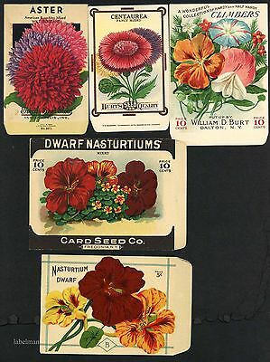 5 Vintage Damaged Seed Packets, Craft Project, Kitchen Decor, 104