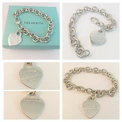 Beautiful Solid Silver Return To Tiffany Heart Tag Bracelet  Rrp £345!