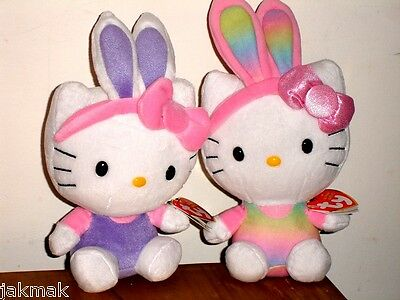 Hello Kitty in Easter Bunny Ears Plush Spring Set of 2 ~ TY Beanie Babies ~ NWT