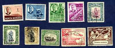 NORTH BORNEO SC#79/247-Miscellaneous Group of 10-USED