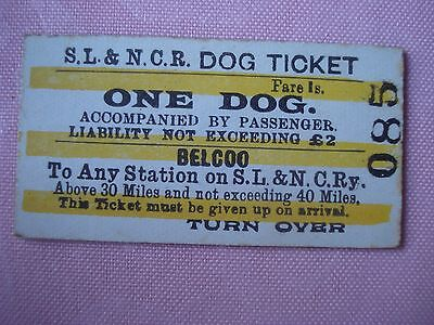 Rare vintage SL & NCR ticket from Belcoo for one dog