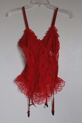 Nan Flower Red Lace Lingerie with Garters sz M