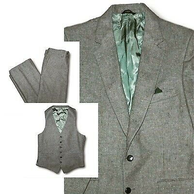 Vintage 1970's CARTIER COLLECTION Green Wool Tweed Three Piece Suit