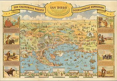 1935 Antique Map POSTER Pacific International Exposition San Diego 8580001