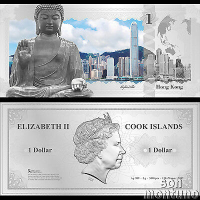 Skyline Note HONG KONG Flexible 5 Gram Silver Dollar China 2017 Cook Islands $1