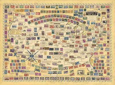 1947 Antique Map POSTER Pictorial Map Stamps the USA Philatelists 7910000