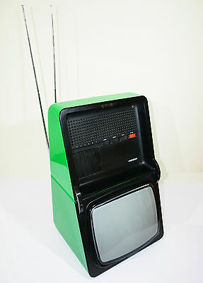"""Rare 1970 Television Fernsehen Voxson T1228 Oyster 12"""" Italy Space Age Vintage"""
