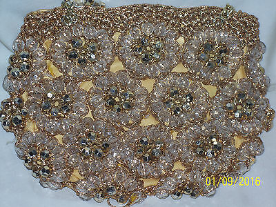 Vintage Evening Purse, Beads, And, Gold Colored Thread