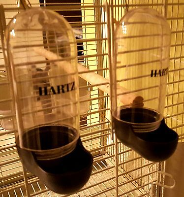 "HARTZ Medium/Large Bird Food and Water Dispensers (2) for Cage 6.5"" Long Used"