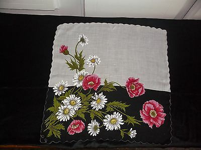 Large Black And White Handkerchief /  Hanky With Daisies.