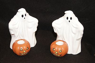 Lillian Vernon Vintage Ghost and Pumpkin Taper Candle Holders